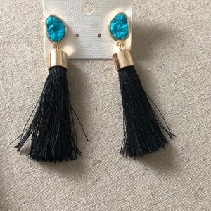 Bauble Bar Tea Druzy Tassel Earrings